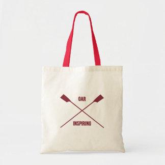 Slogan de inspiração do remo e remos cruzados bolsa tote
