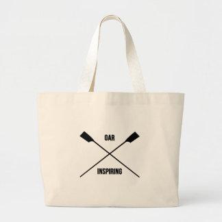 Slogan de inspiração do remo e remos cruzados sacola tote jumbo
