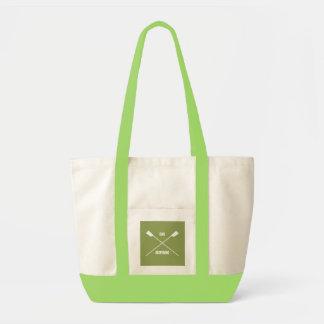 Slogan de inspiração do remo e verde limão cruzado sacola tote impulse