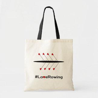 Slogan e barco do enfileiramento do amor bolsa tote