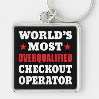 Slogan engraçado do operador de verificação geral chaveiro quadrado na cor prata