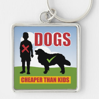 Slogan engraçado dos amantes do cão chaveiro quadrado na cor prata