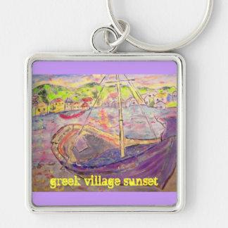 slogan grego do por do sol da vila chaveiro quadrado na cor prata