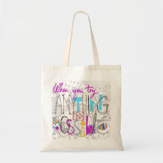 slogan inspirador e inspirado bolsa tote