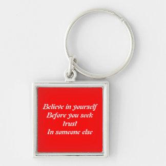Slogan inspiradores chaveiro quadrado na cor prata