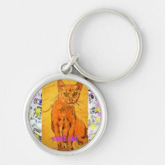 slogan legal do gotejamento do gato chaveiro redondo na cor prata