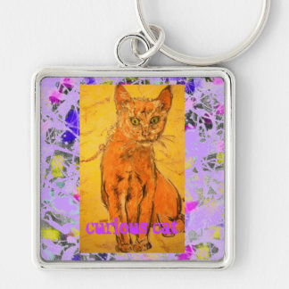 slogan roxo do gotejamento do gato curioso chaveiro quadrado na cor prata