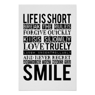 Smile Quotes Typography afixar Pôster