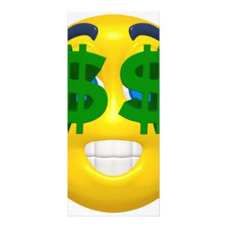smiley amarelo com olhos do dinheiro 10.16 x 22.86cm panfleto