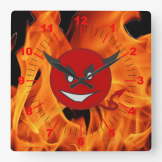 Smiley do diabo relógio quadrado