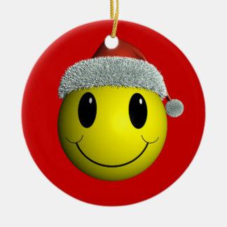 Smiley do papai noel ornamento de cerâmica redondo