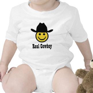 Smiley do vaqueiro macacãozinho para bebê