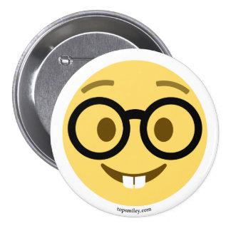 Smiley Emoji Nerd com gancho e dentes de lebre Bóton Redondo 7.62cm