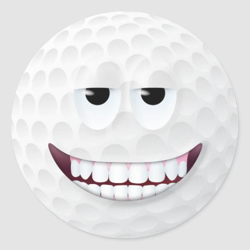 Smiley face 2 da bola de golfe adesivo redondo