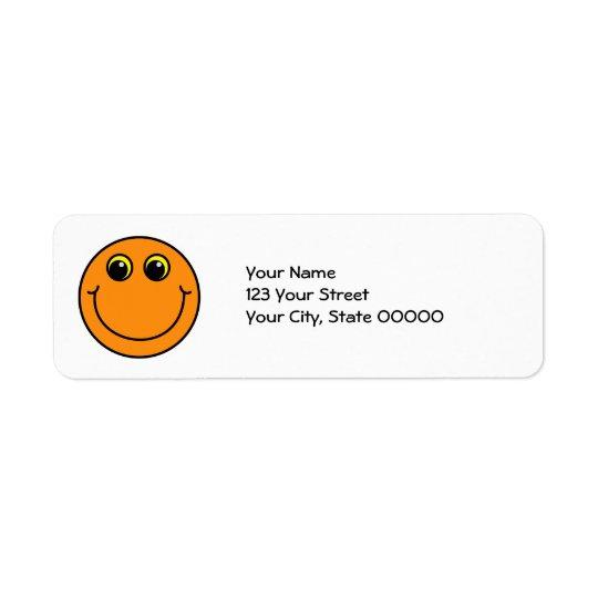 Smiley face alaranjado etiqueta endereço de retorno