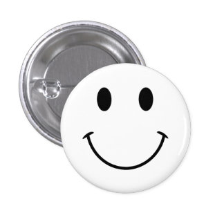 Smiley face branco e preto bóton redondo 2.54cm