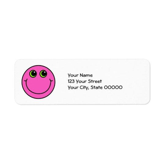 Smiley face cor-de-rosa etiqueta endereço de retorno