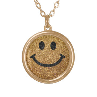 Smiley face do brilho do falso do ouro pingentes