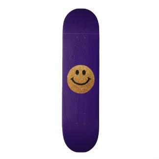 Smiley face do brilho do falso do ouro skates