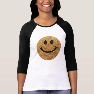 Smiley face do brilho do falso do ouro camiseta