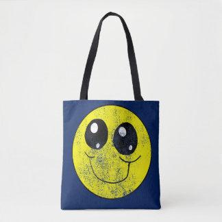 Smiley face do vintage por todo o lado na sacola bolsa tote
