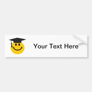 Smiley face graduado com chapéu da graduação adesivo para carro