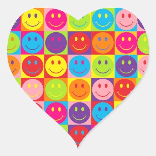 Smiley multicoloridos do pop adesivos de corações