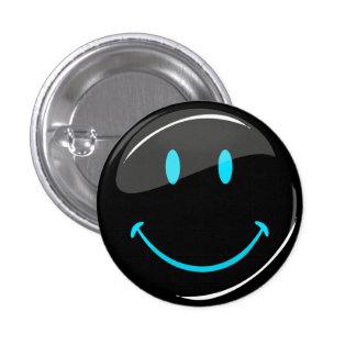 Smiley preto de néon da cor ajustável bóton redondo 2.54cm