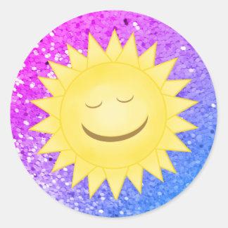 Smiley Sun: Etiquetas 3 do brilho do arco-íris