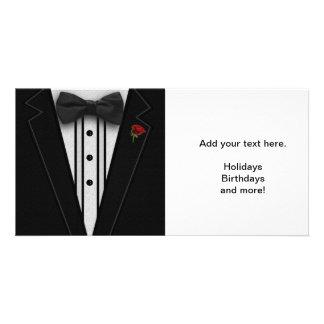 Smoking preto com laço cartão com foto