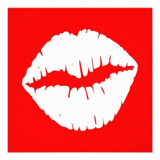 Smooch vermelho e branco convite personalizados