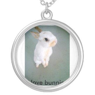 snowball4, eu amo coelhos colar com pendente redondo
