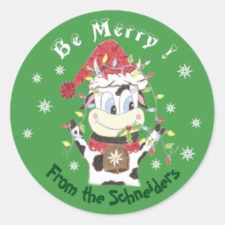 Snowbell a feliz vaca-Estar, etiquetas do Natal