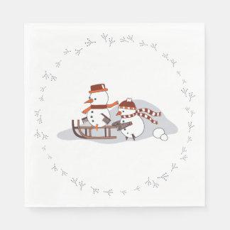Snowbirds no trenó, círculo, guardanapo