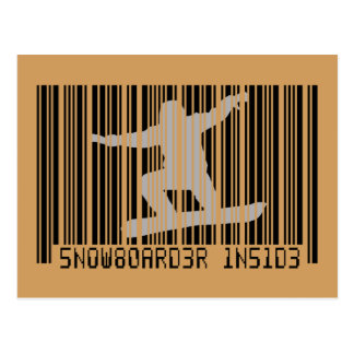 SNOWBOARDER DENTRO do código de barras Cartão Postal