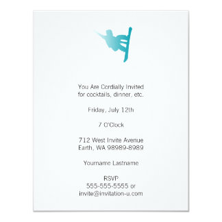snowboarder do azul do inclinação convite 10.79 x 13.97cm