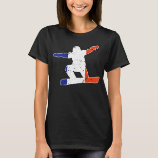 SNOWBOARDER Tricolor francês (branco) Camiseta