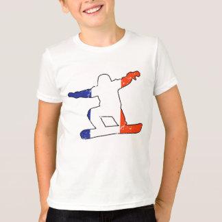SNOWBOARDER Tricolor francês (preto) Camiseta
