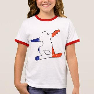 SNOWBOARDER Tricolor francês (preto) Camiseta Ringer