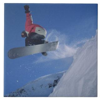 Snowboarding no recurso do Snowbird, Utá (SR.) Azulejo Quadrado Grande