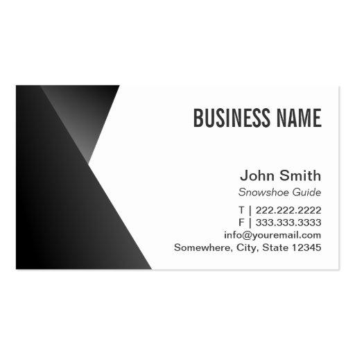 Snowshoeing preto & branco afiado moderno cartao de visita