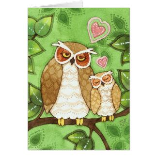 Snuggles da coruja - cartão bonito