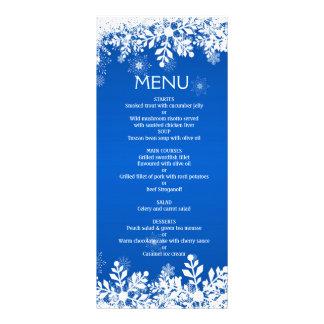 Snwoflakes brancos no menu azul do casamento do