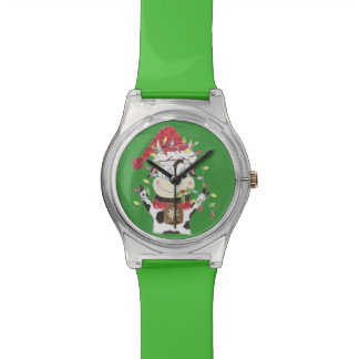 Snwowbell a vaca & o Xmas ilumina o relógio verde