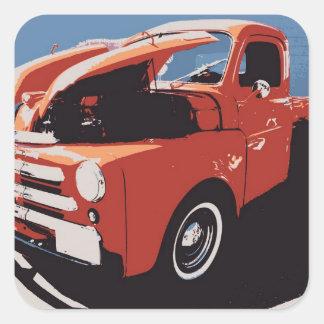 Sob a capa - caminhão antigo adesivos quadrados