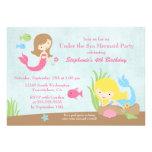 Sob a festa de aniversário da menina da sereia do  convite personalizado