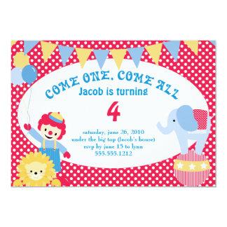 sob a tenda de circo - o aniversário das crianças convite 12.7 x 17.78cm