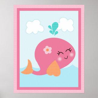 Sob o poster da arte da baleia de /Sealife/Pink da