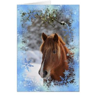Sob o visco, cartão do cavalo
