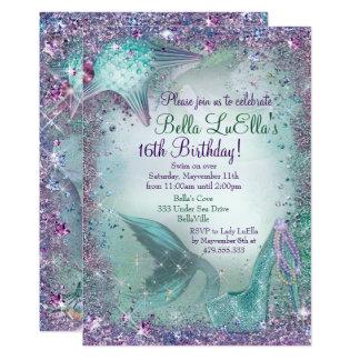Cartão Sob os convites de festas da sereia do mar